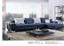 leather sofa with textile matching, popular furniture, top quality