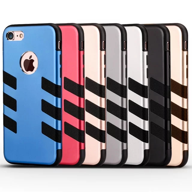 Dual Layer Hybrid metal silicone armor phone case for iphone 6 6plus 7 7plus