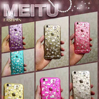 fashion transparent TPU with pearl diamond mobile phone case for iPhone 6/6 Plus