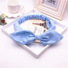 Pure cotton large butterfly bow tie cat ear hairbands knot headband for young girls