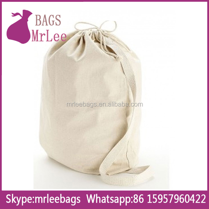 Custom big white drawstring cotton dust bags on stock