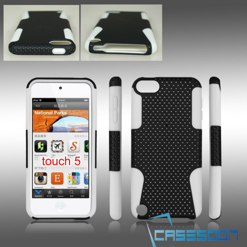 New Combo Case Mesh&Silicone Combo case For Apple iPod touch 5 Mesh Combo Case
