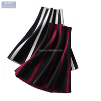 Wholesale long african skirts Women Winter skirt high waist contrast color Striped A-Line latest skirt design pictures