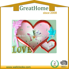 Doube butterflies and hearts shape with a fashion photo frame table alarm clock 2013