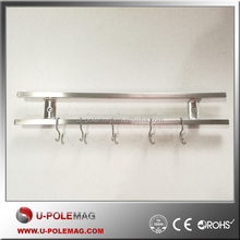 U-POLEMAG Space Saving multipile Magnetic Knife holder/strip/rack with 5 removable hooks