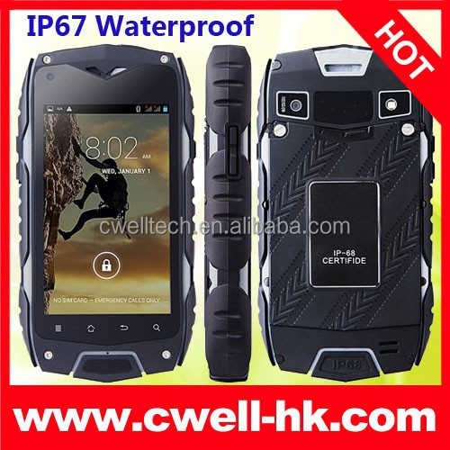 2015 Dual Core Rugged IP68 Waterproof 3G WCDMA CDMA Smartphone Jeep Z6 Android Cell Phone 4 inch Touch Screen