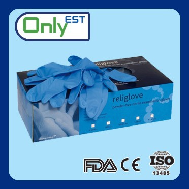 Lab use disposable chemical resistant blue colored nitrile exam glove
