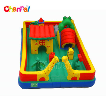 Giraffe indoor playground obstacle course inflatable amusement park funland equipments for totter