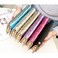 Bz5253 women clutch bags fashion stone print cheap zipper wallets