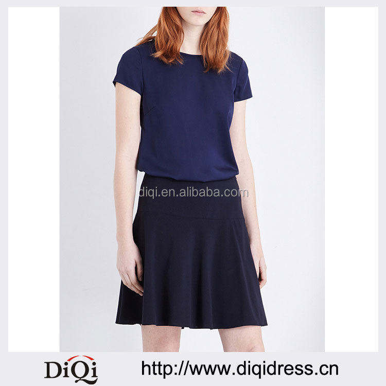 Wholesale Women Apparel Fashion Round Neck Cap Sleeves Newest Silk Blouse(DQE0298T)