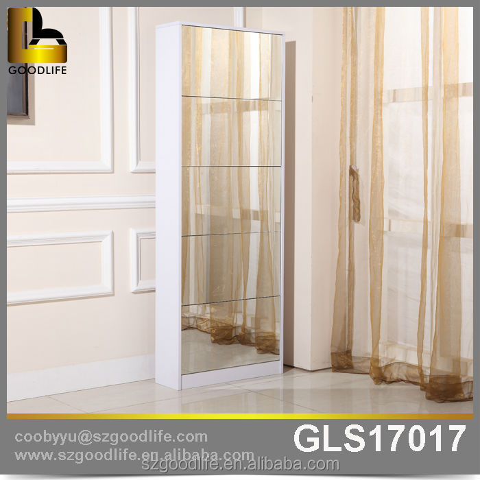 Mail order furniture mirror large wooden modern sliding door shoe cabinet GLS17017