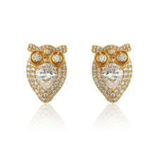 96058 xuping manufacturer charming owl shaped unique earrings with 24k gold plated setting cubic zircon