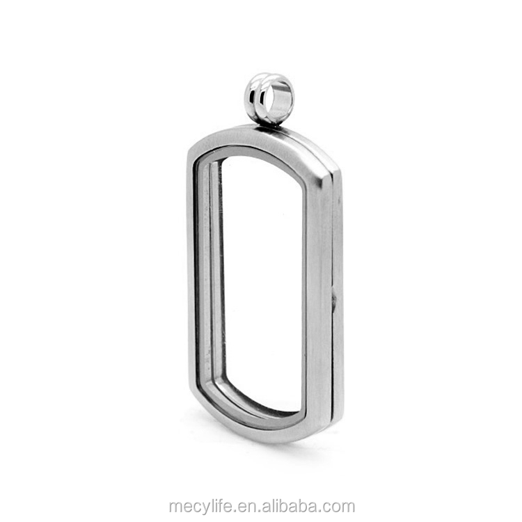 MECYLIFE rectangle shape stainless steel glass living memory locket