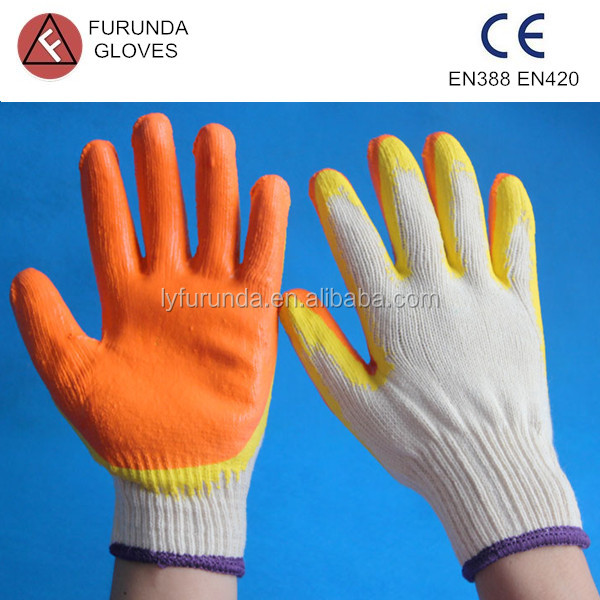 double color latex coated polycotton work gloves 80g per pair for latin America market