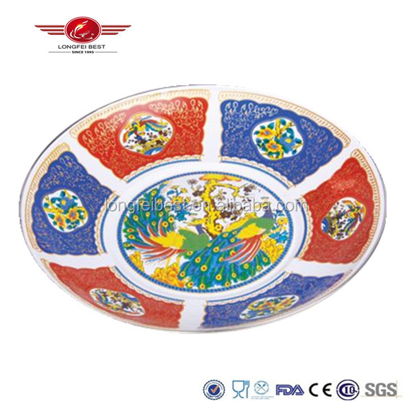 Enamel coated round serving tray with chinese ethnic color and decal