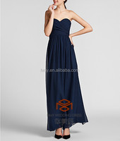 Navy Blue Simply And Beautiful Sexy Bridesmaid Dress HMY-D243 Sweetheart Floor Length Straps Available