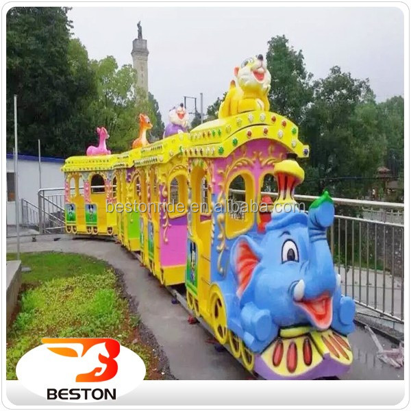 Amusement park electric train ride of kidde rides elephant track train theme park mini trian for sale