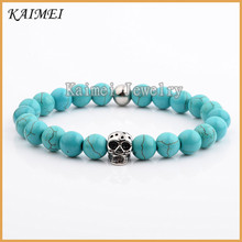 Factory Wholesale Natural Turquoise Howlite Beads Bracelet With Skull Bracelet