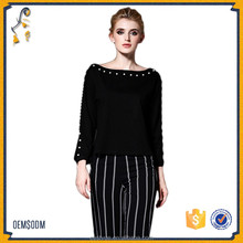 Fashion Black Long Sleeve Round Neck with Beading Women's T-Shirt