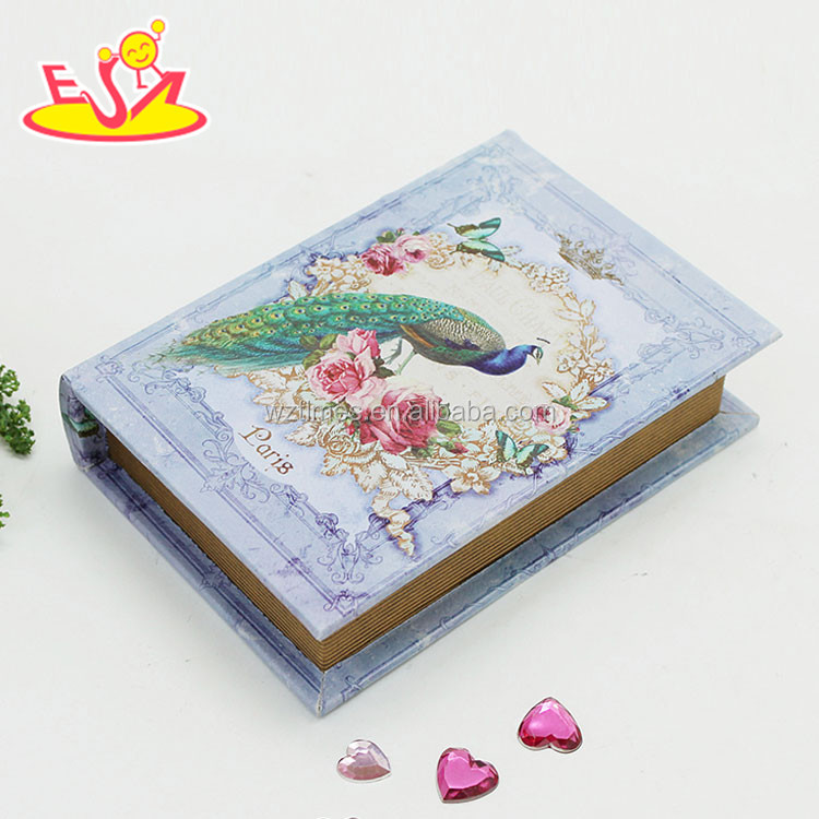 Wholesale peacock pattern wooden fake book box home decoration wooden fake book box W18A019
