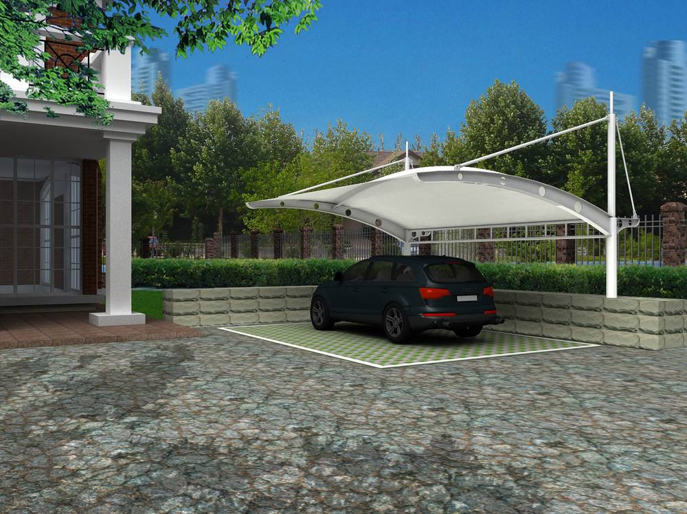 Tensile membrane structure for carport car parking roof for Techados para coches
