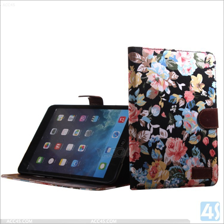 for ipad mini3 flower stripe stand leather case cover for ipad mini 3 leather case