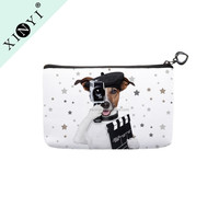 Lovely animal dog print personalized zipper wallet coin purse small travel custom cosmetic bag