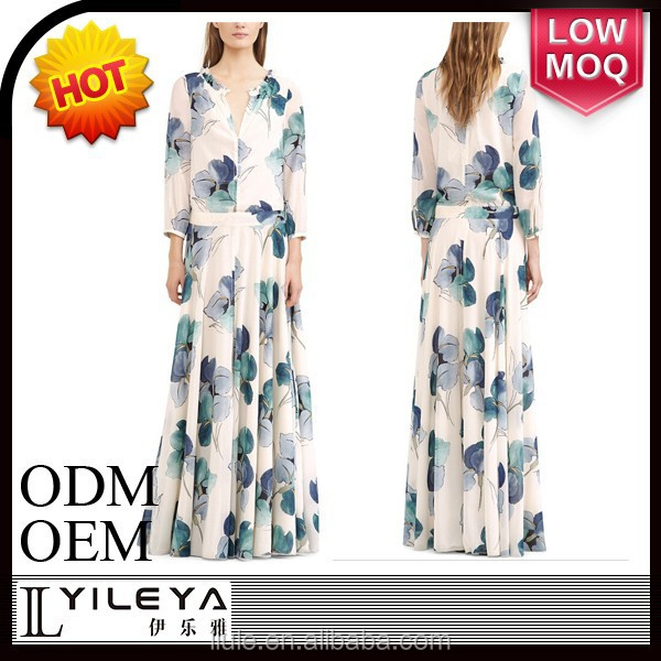 latest customized western style maxi floral water printing 2015 summer long dress