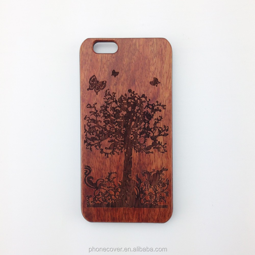 2017 carved natural wood phone cases, bamboo wooden shell, fancy stones phone case for iphone
