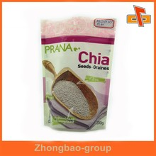 Custom printing stand up plastic seed bag with zip lock for Chia packaging