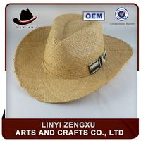 Cheap promotional high quality green straw cowboy hat cheap