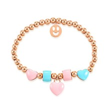 Marlary Stainless Steel Small Seed Beads Bracelet Chain Emoji Charm Color Natural Stone Bracelet