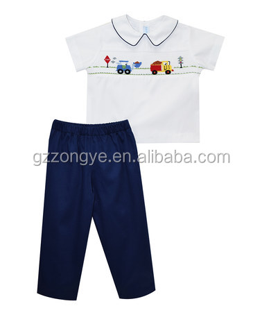 white short sleeve shirt & green pants boys garments for 2-6 years