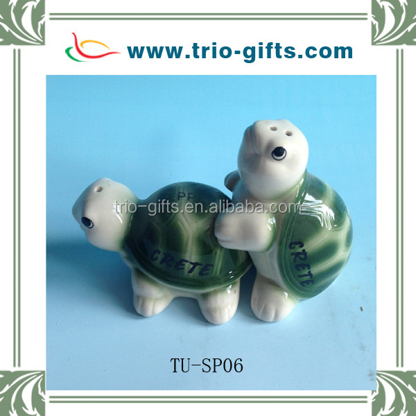 ceramic turtle salt and pepper set holder