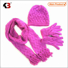 2015 Hot saleing plush scarf/plush purple hat scarf glove/cable knitted scarf hat gloves set