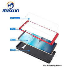 Manufacturer Wholesale For Samsung Galaxy Note 8 Hybrid Combo Case 3 in 1 PC+Silicon Case + tempered glass Shockproof Defender