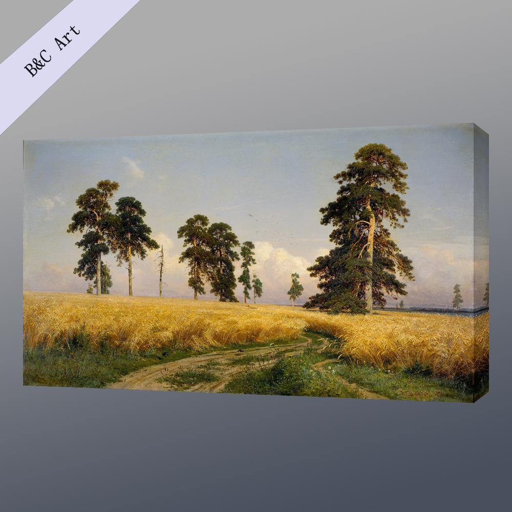 Custom Canvas handmade Natural Scenery Ivan Ivanovich Shishkin Rye Famous Oil Painting Reproduction with frames