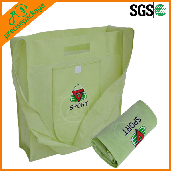 2014 Recycled promotional printed non woven folding college student shoulder bag