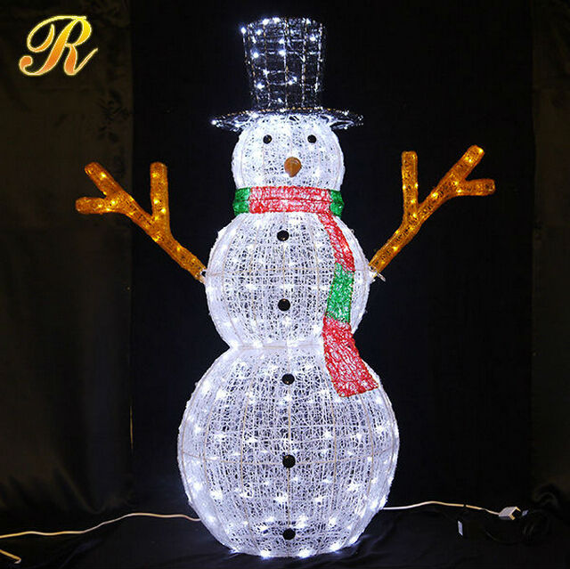 outdoor lighted snowman 3D led Christmas light snowman LED light snowman
