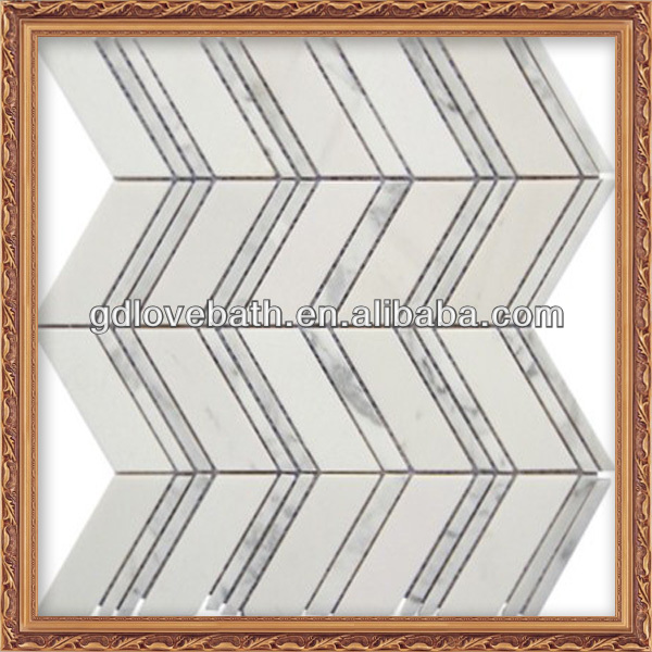 Lovehome Strip White Wall Decoration Natural Stone Wave Tile Marble Mosaic