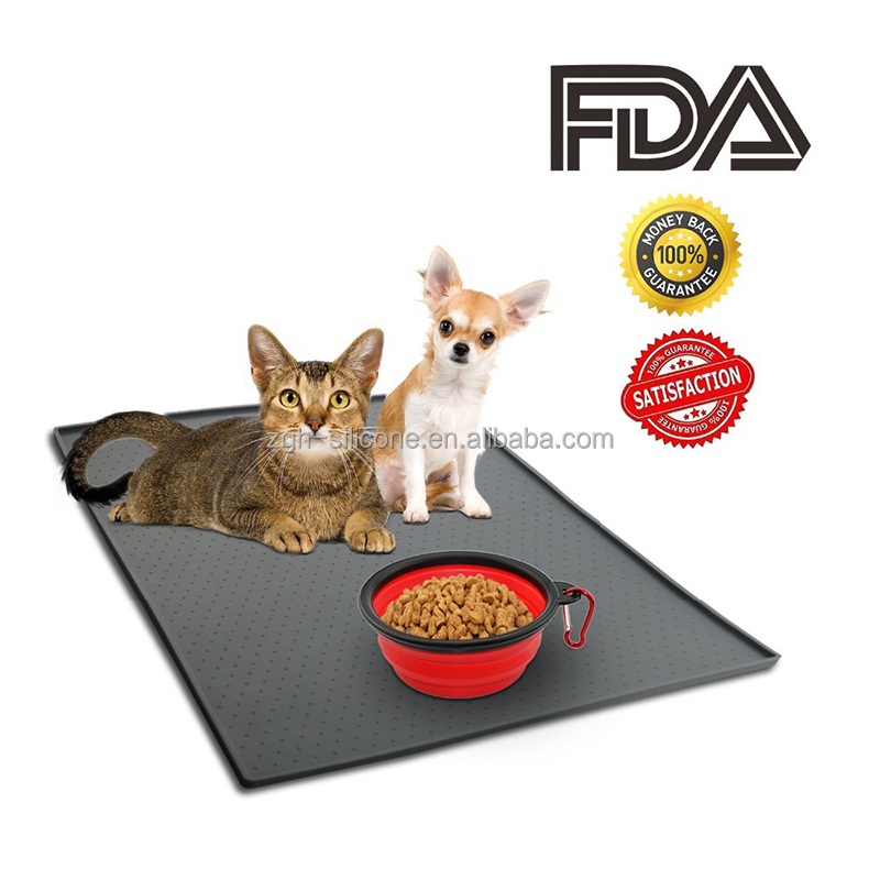 custom dog feeding waterproof pad cat litter bowl silicone pet food mat