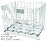 Folding and Stackable Galvanized Wire Mesh Container