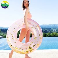 CE Cheap New Water Tube Glitter Inflatable Silver Gold Swimming Ring For Adults