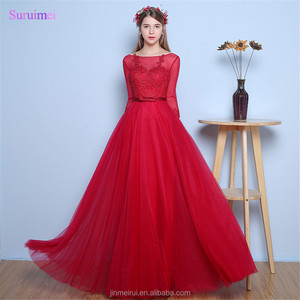 Rose Red Prom Dresses with Fashion Lace Applique Sheer Illsion Tulle Neck Long Prom Gown with Half Sleeves