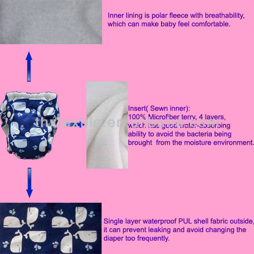 Cute and Breathable Baby Diaper Nappy AIO Newborn Diaper