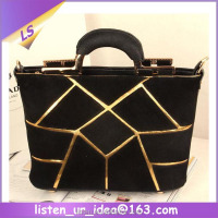 Latest design geometric joining together lady fashion handbag