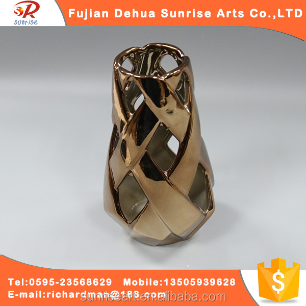 Mental type custom logo high quality ceramic gold plated vase