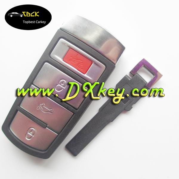 Factory sale 3+1 button remote key shell with emergency key for vw blank keys