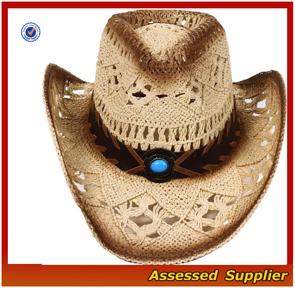 High quality women/men's summer woven straw cowboy hat Australia ranch hat with shapeable brim