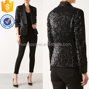 Black Sequins Embroidered Smoking Jacket OEM/ODM Women Apparel Clothing Garment Wholesaler Ropa Mujer